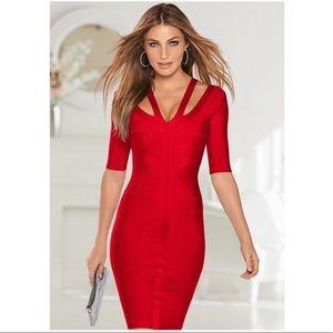 Venus red bandage bodycon dress